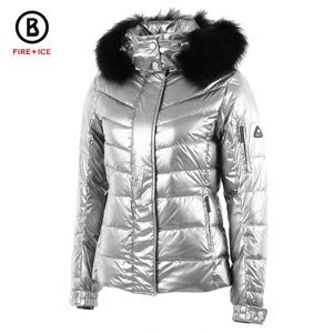 BOGNER Metallic Silver Sale-D Jacket with Fur Hood